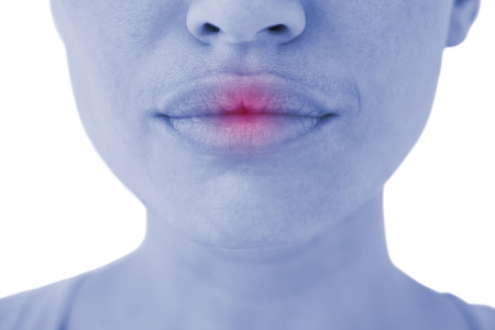 luscious: Woman with luscious lips on white background