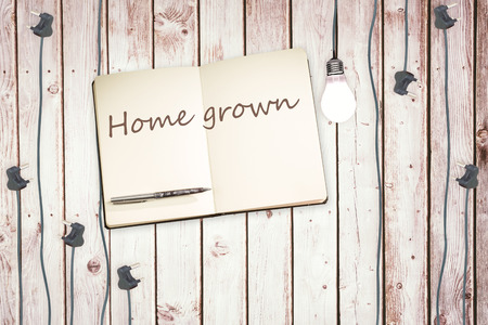 home grown: The word home grown against notepad and plugs on wooden background