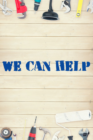 can we help: The word we can help against tools on wooden background