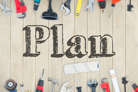 buzzword: The word plan against diy tools on wooden background