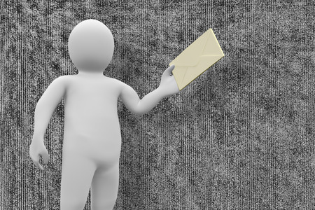 human representation: White character holding envelope against grey background Stock Photo