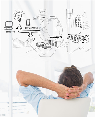hands behind head: Rear view of a casual man resting with hands behind head in office against brainstorm graphic