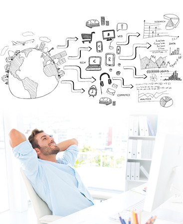 hands behind head: Casual man resting with hands behind head in office against brainstorm graphic