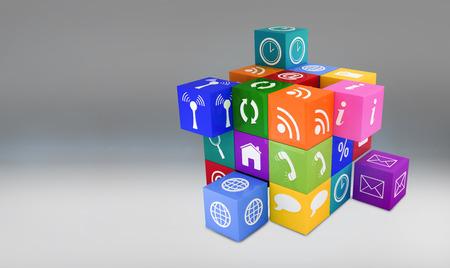 vignette: App cube against grey vignette
