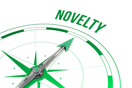 the novelty: The word novelty  against compass