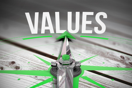 The word values and compass against digitally generated grey wooden planks