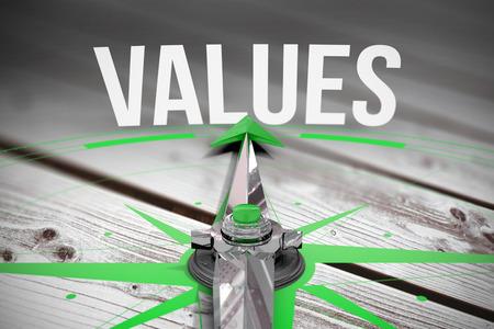 valores morales: Los valores de palabra y la brújula contra tablas de madera grises generadas digitalmente