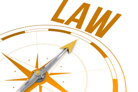 buzzword: The word law against compass arrow