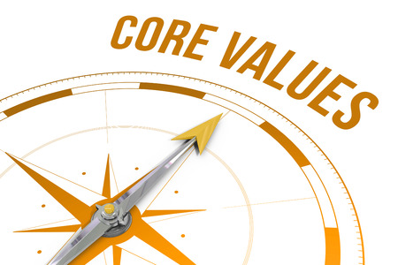 The word core values against compass