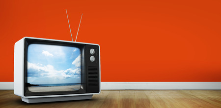 retro tv: Retro television  against beach