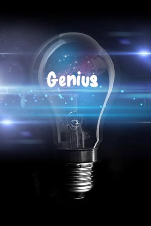 glowing light bulb: genius against glowing light bulb Stock Photo