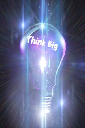 glowing light bulb: think big against glowing light bulb