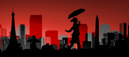 stepping on: Businesswoman stepping with umbrella against cityscape stencil design Stock Photo