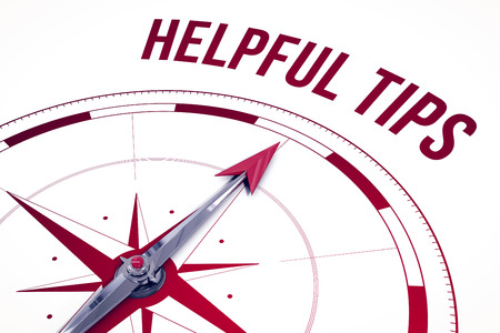 helpful: The word helpful tips  against compass