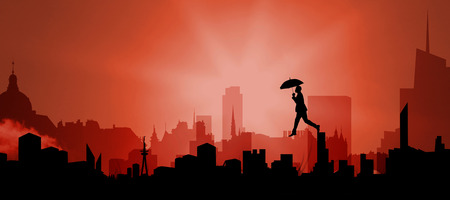stepping: Businessman stepping with umbrella against cityscape silhouette Stock Photo