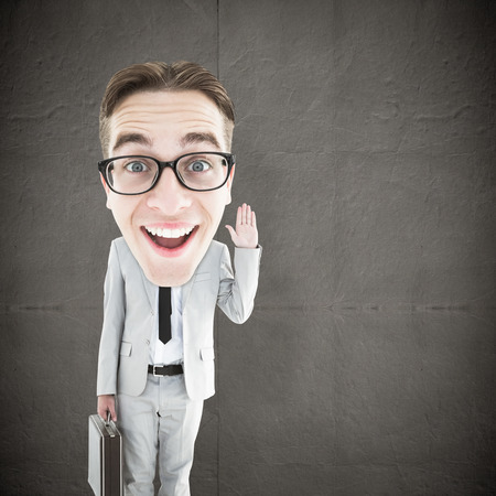 geeky: Geeky businessman  against grey concrete tile Stock Photo