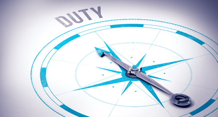 duty: The word duty against compass Stock Photo