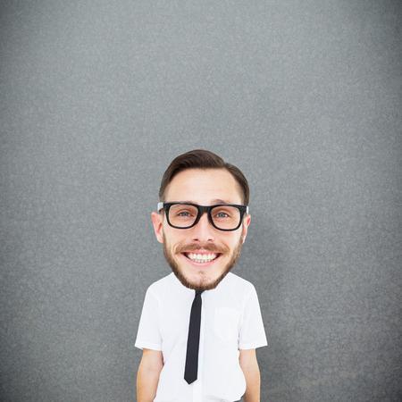 geeky: Geeky businessman  against grey background