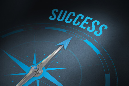 compass: The word success and compass against grey