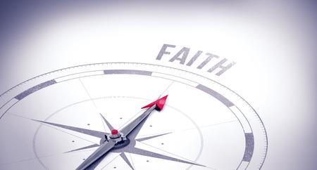 buzzword: The word faith against compass Stock Photo