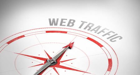 web traffic: The word web traffic against compass