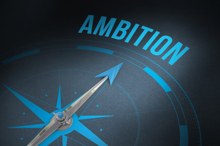 ambition: The word ambition and compass against grey Stock Photo