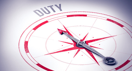 dutiful: The word duty against compass Stock Photo