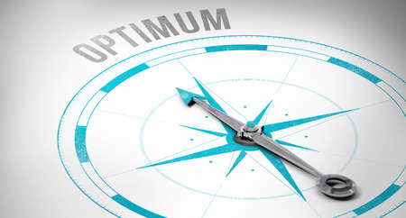 best guide: The word optimum against compass Stock Photo