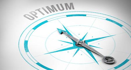 optimum: The word optimum against compass Stock Photo