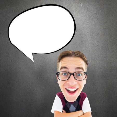 geeky: Geeky businessman  against grey room