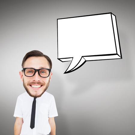 geeky: Geeky businessman  against grey vignette