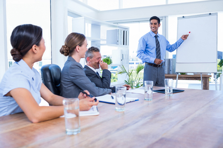 office attire: Business people listening during a meeting in the office