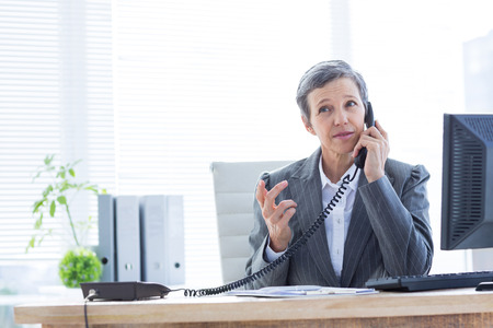 phoning: Serious businesswoman phoning and using computer at the office Stock Photo