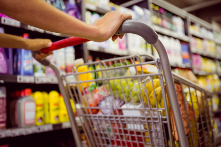 grocery shelves: woman buy products with her trolley at supermarket