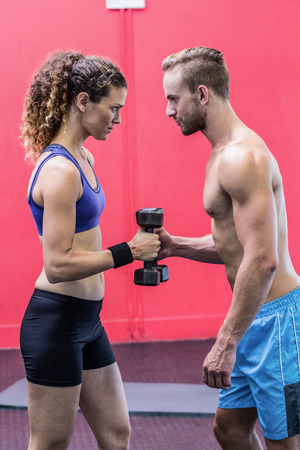 facing each other: Muscular couple lifting dumbbells while facing each other Stock Photo