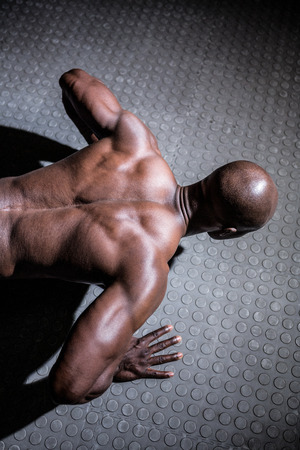 ups: Young Bodybuilder doing push ups in front of the camera