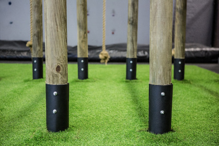 gritty: Close up view of parallel bars in crossfit gym