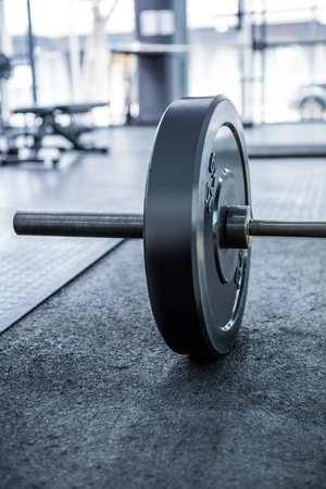 gritty: Close up view of barbell in crossfit gym Stock Photo