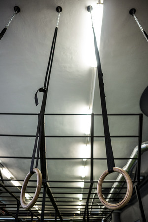 gritty: Gymnastic rings in crossfit gym