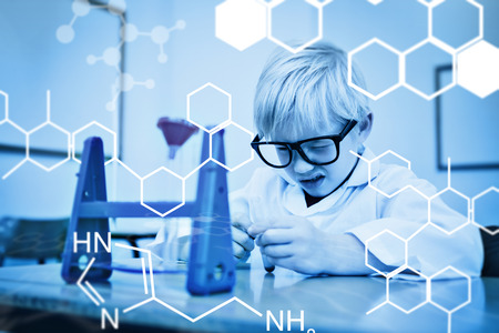 make believe: Science graphic against cute pupil dressed up as scientist in classroom Stock Photo