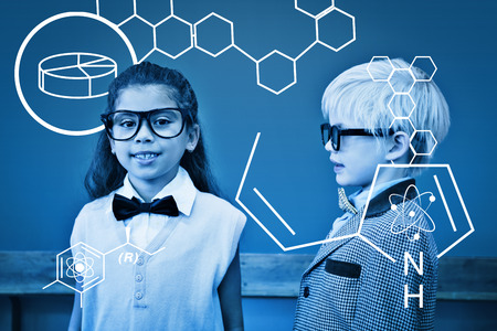 make believe: Science graphic against cute pupils dressed up as teachers in classroom