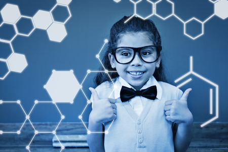 make believe: Science graphic against cute pupil dressed up as teacher in classroom