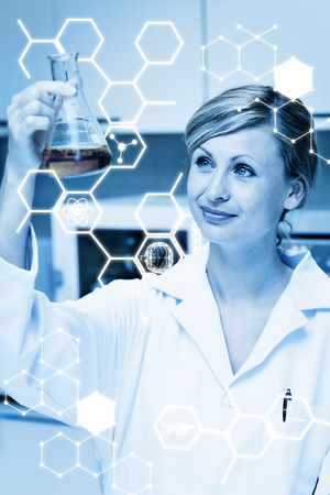 erlenmeyer: Science graphic against portrait of a bright female scientist looking at an erlenmeyer