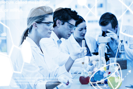 Science graphic against science students in a laboratory