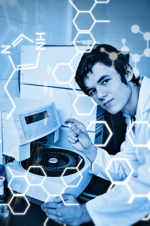 centrifuge: Science graphic against portrait of a a student posing with a centrifuge
