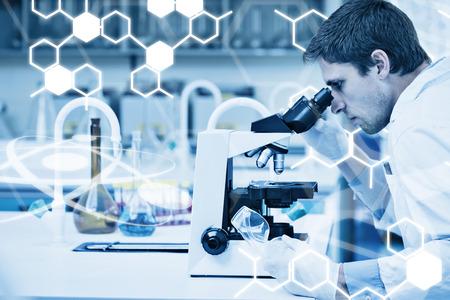 researcher: Science graphic against scientific researcher using microscope in a laboratory