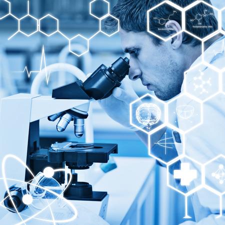 researcher: Science graphic against scientific researcher using microscope in the laboratory