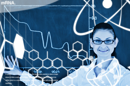 normal distribution: Science graphic against scientist showing a graph on the blackboard Stock Photo