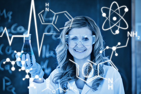 scientist woman: Science graphic against young female scientist posing Stock Photo