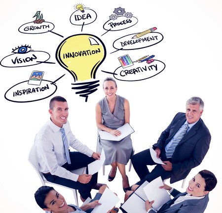 business innovation: Business team sitting in circle and discussing  against innovation doodle Stock Photo